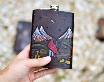Tarot Card Flask - Any Card in the Deck - Major Arcana Minor Arcana - 8oz Flask