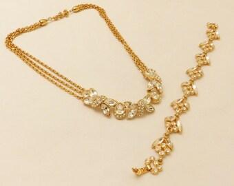 Vintage Gold Tone  Monet Rhinestone Necklace and Bracelet Jewelry Set