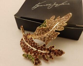 KJL Large Gold Tone Amber Rhinestone Leaf Brooch