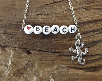 Ladies chain anklet - Heart Beach with lizard charm