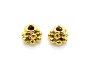 4 Pcs, 4.5mm, 24k Gold Vermeil Bead Cap