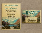 Montana Wedding Invitation - Printable Montana Wedding Invites - Montana Glacier National Park Nature Retro Wedding Suite or Solo VTW