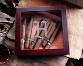 7 NEW Custom Designs Personalized Laser Engraved Glass top Cigar Humidor - Personalized Cigar Box  gift for Him