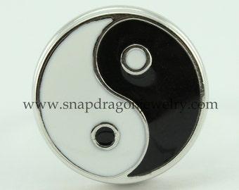 NOOSA Style SNAP Jewelry Chunk Popper Charm Button - Black/White Yin Yang