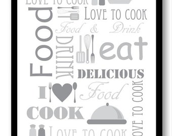 Love to Cook Kitchen Wall Decor Grey Gray White Print Printable Home Decor INSTANT DOWNLOAD Art Print Food Kitchen Eat
