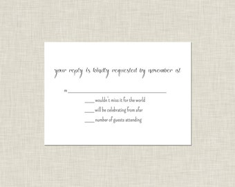 Black & White Wedding Reply Card