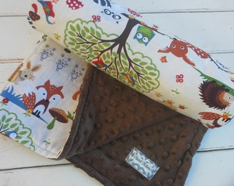 minky baby blanket-Personalized boys brown minky baby blanket in woodland creatures print-baby blanket with applique name-baby shower gift