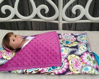 "Doll Sleeping Bag - Doll  Accessory-18"" doll sleeping bag-Girls doll sleeping bag"