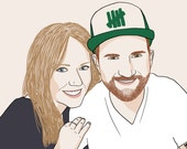 Custom Couple Portrait, 2 people, digital drawing, unique gift for birthday, wedding, family, children, mother, father !… !
