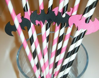 10 Fun Batgirl Straws pink and black(948S)