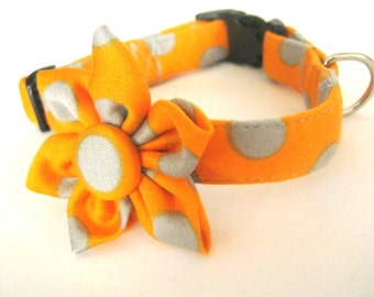 Dog collar with flower Orange dog collar Polka dot collar and flower Dog collar flower Pet collar with flower