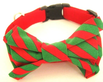 Red dog collar with red and green bow tie Pet collar Large dog collar Dog gift