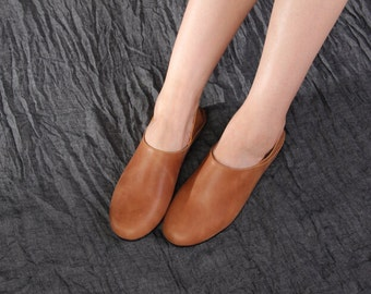 Handmade Flat Shoes for Women, Casual Shoes, Soft Shoes, Retro Oxford Shoes, Vintage style Leather Shoes