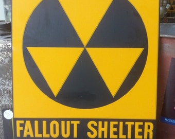 Authentic 1962 Fallout Shelter Sign - Military Collectible