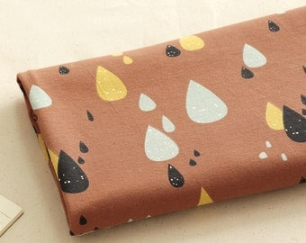 Cotton Jersey Knit Fabric Raindrops Camel By The Yard
