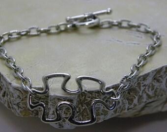 Autism Puzzle Piece Charm Bracelet - Metal Puzzle Piece Bracelet