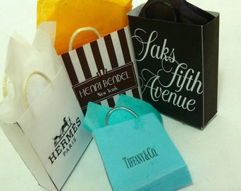 Shopping Bags 4 any logos dollhouse miniature 1/12 scale