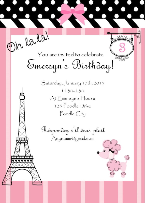 pink poodle in paris birthday invitation paris theme birthday invivation paris birthday. Black Bedroom Furniture Sets. Home Design Ideas