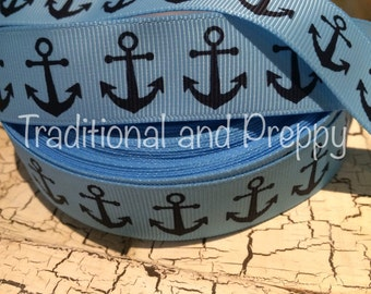 "7/8"" Preppy Nautical ANCHOR Navy on Blue Grosgrain Ribbon sold by the yard"