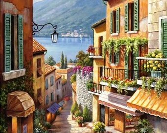 Village Steps - Counted cross stitch pattern in PDF format