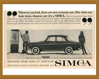 "1956 Simca Car B&W Print AD / The World's most luxurious economy car / 10"" x 6"" / Original Advertisement / Buy 2 ads Get 1 FREE"