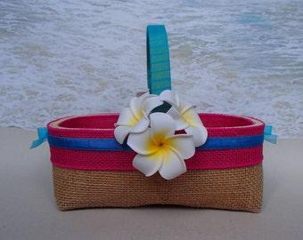 Makena Basket & Pillow - Your choice of ribbon color - Plumeria Tropical Beach Destination Wedding Hawaiian Hawaii