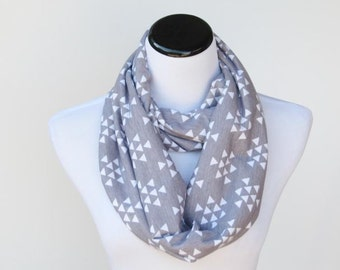 Gray scarf grey white infinity scarf triangle arrows soft jersey knit scarf geometric cotton loop circle scarf - scarf for mom and teen girl