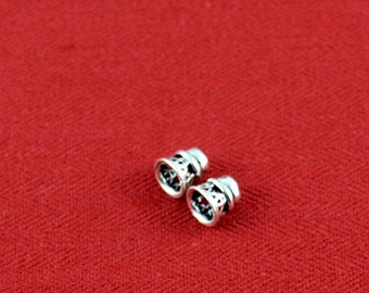 Sterling Silver End Cap Bead, Wire Design 6mm with 2mm hole ., set of 2