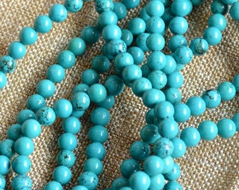 8mm Turquoise Beads, Round Turquoise Beads, Gemstone Beads, Semi Precious Stones, Stone Beads, Tibetan  Beads, One Strand, MAN14-35