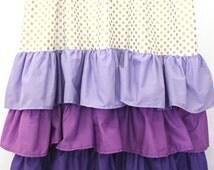 Gold Dot and Purple Ruffle Curtain Panels (set of 2)
