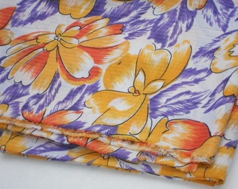 Floral cotton viscose fabric printed bright yellow orange purple thin vintage cotton
