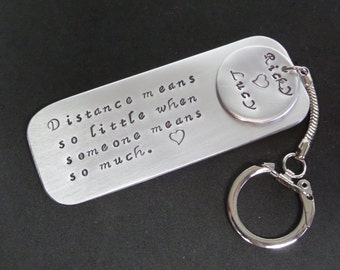 LONG Distance relationship Keychain  love note special  message metal copper key chain tag