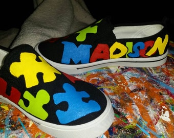 Hand painted Autism Awareness Puzzle Piece shoes