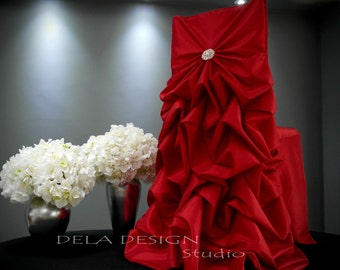 New ! Red Wedding Chair Cover - Specialty Bustle Back - Bride Chair - Luxury Weddings Events Parties Christmas