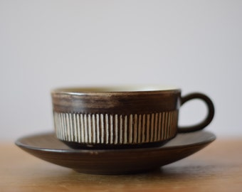 Vintage Danish - AMAZONAS tea cup & saucer - brown /grey - stripes - midcentury