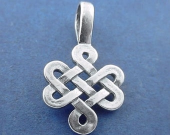 CELTIC KNOT Charm, ENDLESS Knot Charm or Pendant Sterling Silver