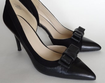 Black leather bow shoe clips, Shoe Decorations