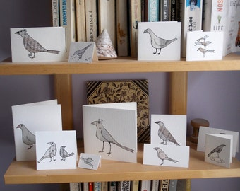 pack of 8 BIRDcards. Hand made, unique cards of different sizes with envelopes, nice to send individually look great displayed in a group