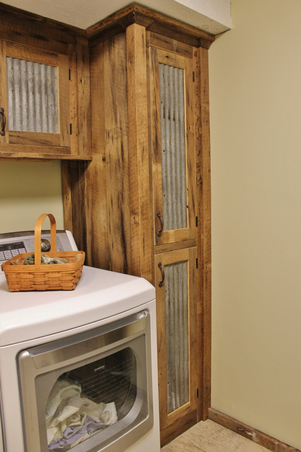 Rustic tall storage reclaimed barn wood cabinet w tin doors for Building rustic kitchen cabinets