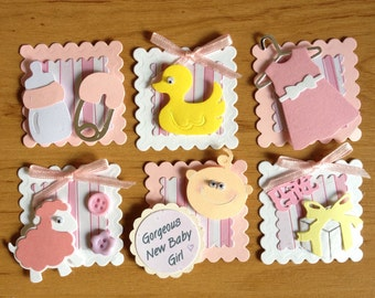 6 Mini Handmade Baby Girl Assembled Card Toppers for card making scrapbooking crafting