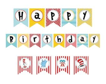 Happy birthday banner printable | Etsy