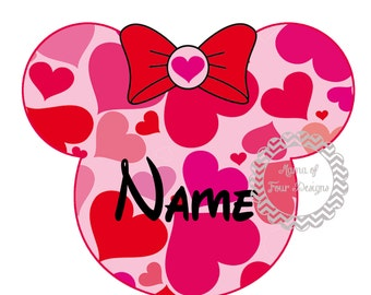 DIY - Personalized Minnie Mouse Inspired Valentine - Iron On Transfer