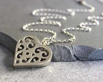 Heart necklace long necklace, Silver heart necklace Big heart pendant, Romantic gift for her.