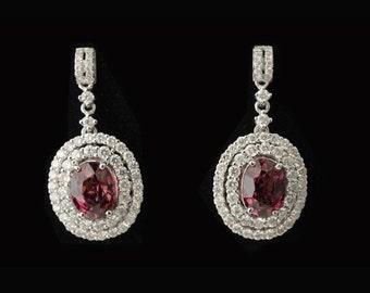 14K Gold ,Tourmaline, Diamond Earrings