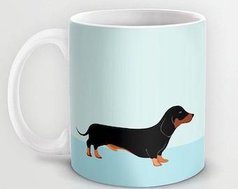 Personalized mug cup designed PinkMugNY - Dachshund - Black