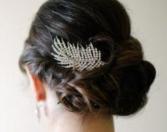 Silver Crystal Leaf Bridal Art Deco Hair Comb, Downton Abbey, Great Gatsby, Vintage Inspired Hairpiece, Bridal Hair Accessory, Crystal Comb