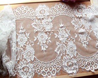 "3 Yards white Chantilly Eyelash Lace ,Exquisite Wide Black Chantilly Eyelash Lace Trim Width 35CM Sell By Yard-13.7""*115"""