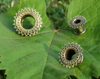 sun flower plug, gauged ears, brass tunnel, indian style, price by piece, tunnel