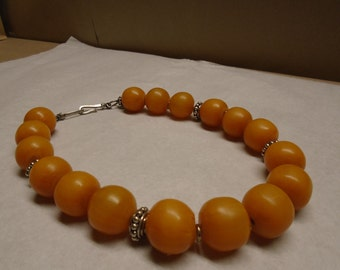 Large Resin Amber Bead Necklace