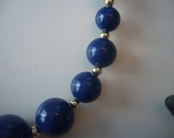 Vintage Trifari, Blue Lucite and Gold Tone Beaded Necklace.